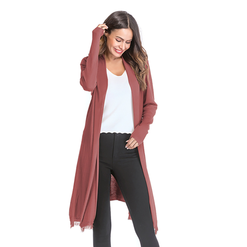 Kostlich 2018 Women Solid Color Tassel Long Knitted Cardigans Casual Open Stitch V Neck Full Sleeves Cardigans M-XL (9)