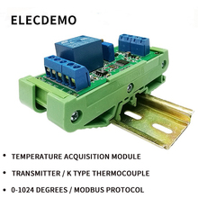 Temperature Collector Module Transmitter Type K Thermocouple TTL RS485 0-1024 degrees MODBUS pt100 pt1000 8 rtd high precision platinum resistance temperature acquisition module modbus rs485