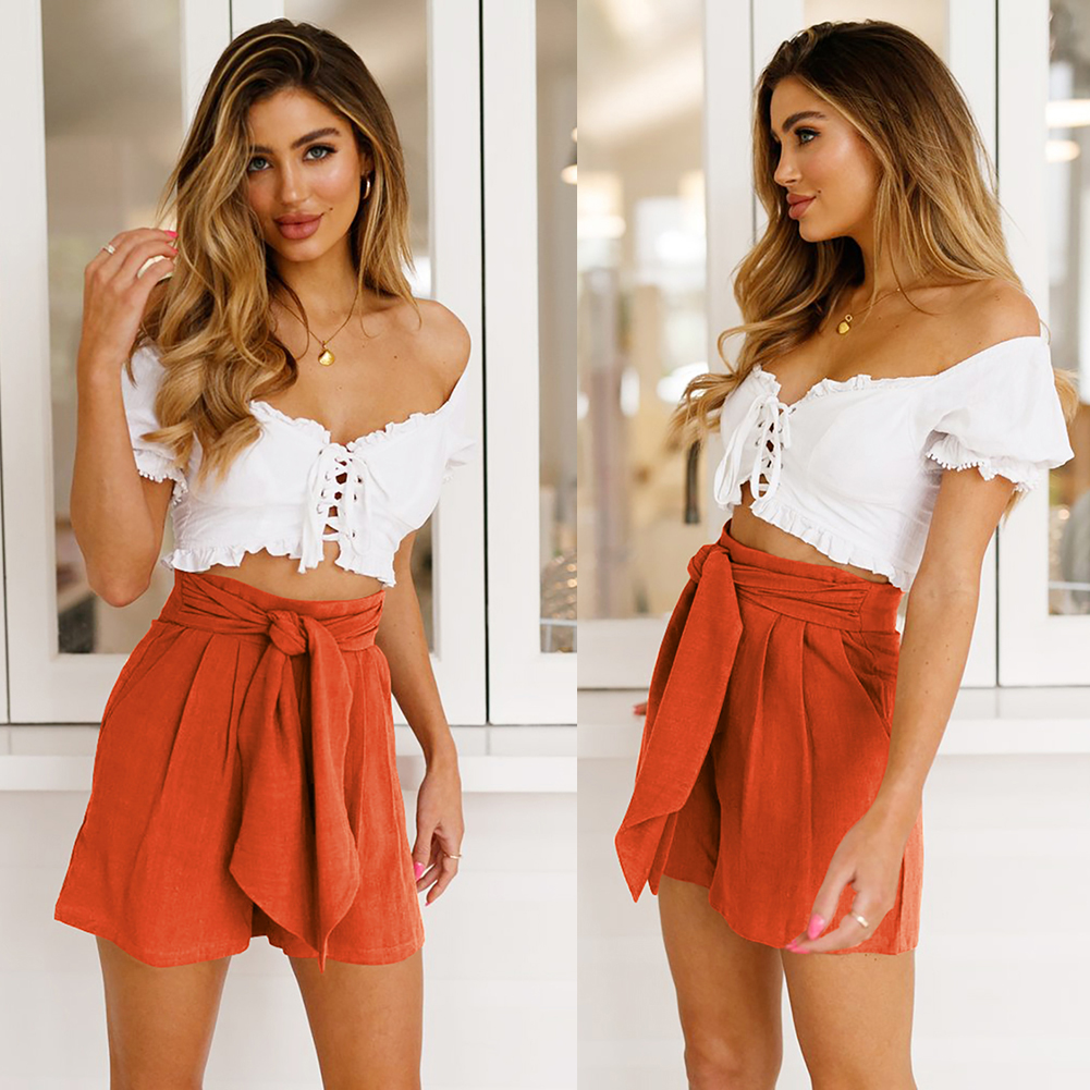 Summer Beach Casual High Waist Solid Gift Fashion Wide Leg Loose Daily With Pockets Straight Women Shorts Retro
