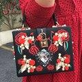 De lujo en forma de corazón de diamante perla rose bordado diseño partido de la manera del bolso de totalizadores del bolso de hombro de las señoras bolsa de mensajero del bolso del monedero