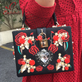 Luxurious heart-shaped diamond pearl rose embroidery design fashion party handbag totes ladies shoulder bag messenger bag purse