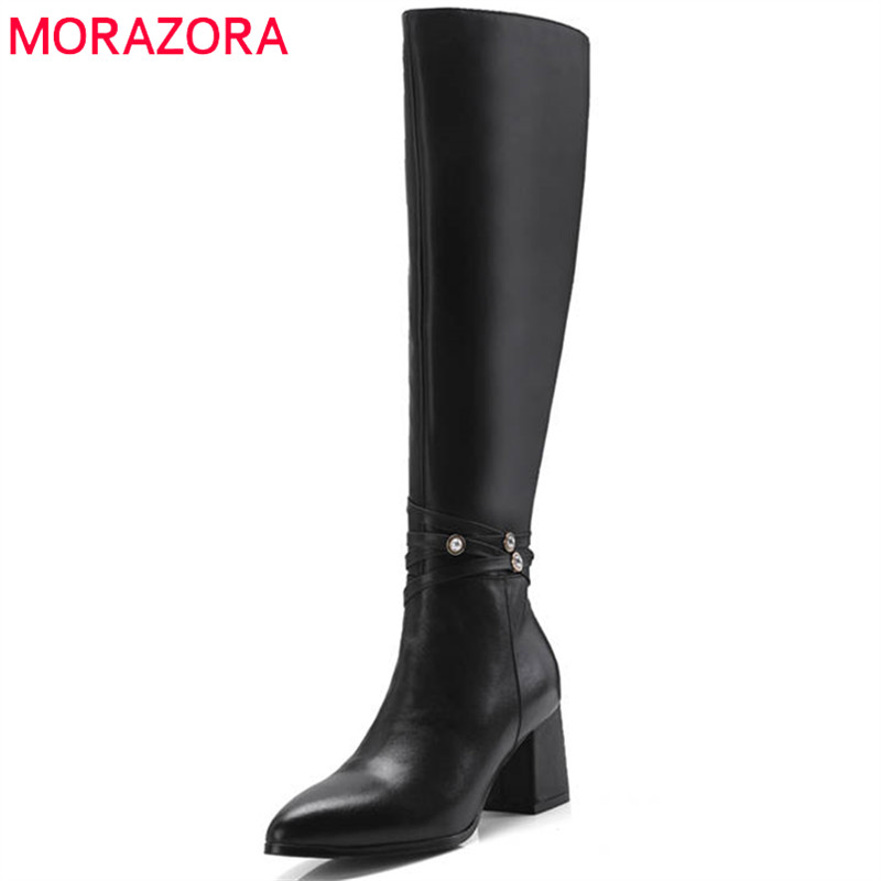 MORAZORA 2018 newest knee high boots women top quality genuine leather boots warm autumn winter boots high heels shoes woman стоимость