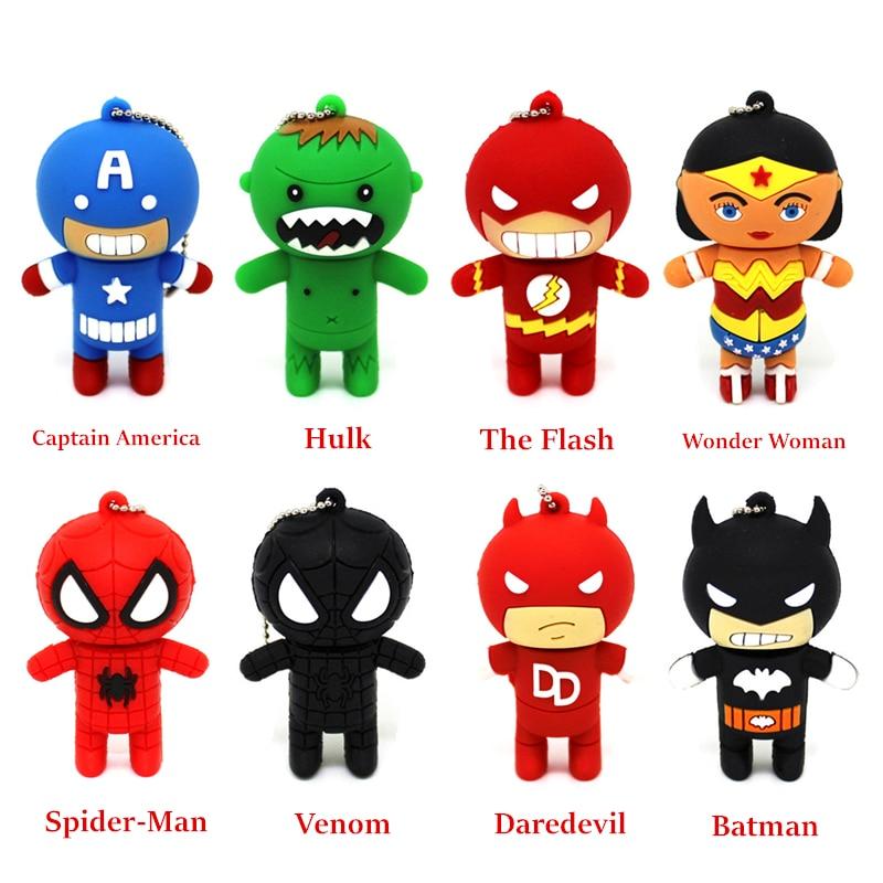 Cartoon Super Heros Avenger Pendrive USB 2.0 Flash Drive 4GB 8GB Memory Stick 16GB 32GB Pen Drive Wonder Woman/Justice League