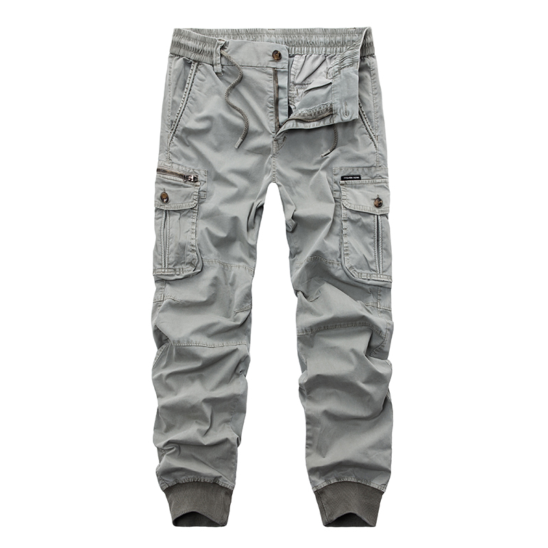 New 2018 Brand Casual Joggers Solid Color Pants Men Cotton Elastic Trousers Military Style Army Cargo Pants Mens Leggings 29 38