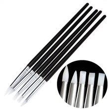 5 Unids de Silicona Suave diseño de Uñas de Arte sello Pen Brush Carving Escultura Cerámica UV Gel de Construcción cepillos Lápiz BRICOLAJE herramientas