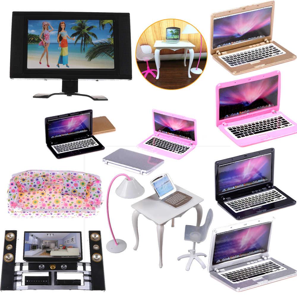 Nhà búp bê Cảnh Mini Máy Tính Laptop Búp Bê Nhựa Nội Thất Màn Hình Phẳng Có Thể Tháo Rời LCD Trẻ Vui Chơi cho Nhà Búp Bê Phụ Kiện