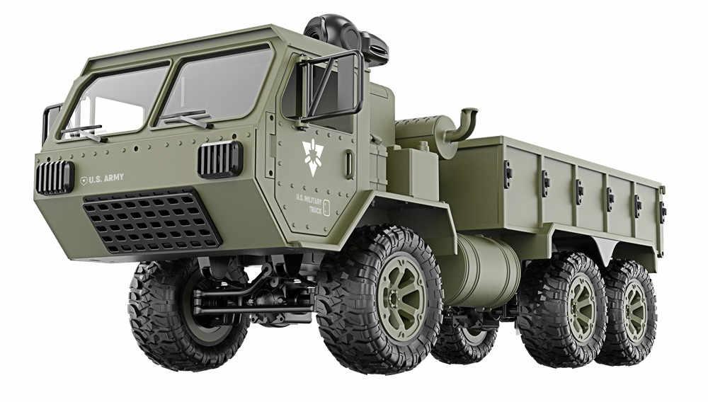 RC Truk Mainan Remote Control Enam Drive Militer Kartu Logam DIY Modifikasi Model Mobil 2.4G ABS Paduan hijau Tentara Mainan untuk Anak