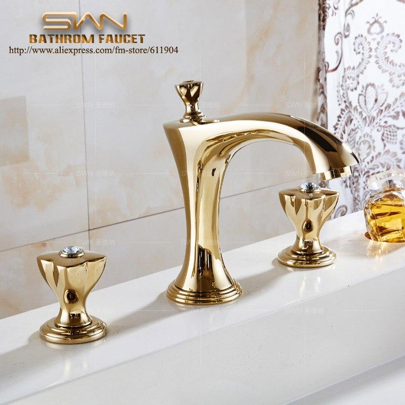 3 шт. Роскошные Chrome Золотая Роза красная латунь Ванная комната кран раковиной, Туалет бассейна кран раковины смесители три отверстия