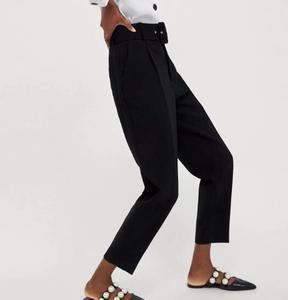 Image 2 - Stiruuna cintura alta senhora do escritório com cinto calças femininas causal preto harem calças com faixas elegante senhora calças cores leggings