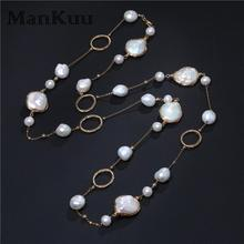 Fashion Handmade Baroque Pearl Long Necklaces Mix Type Natural Freshwater For Women Gold Bridal