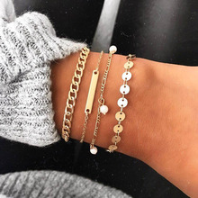 4 Pcs/Set Gold Link Chain Round Paillette Charm Bracelet Bangles for Women Love Heart Hollow Map Bracelets Set Accessories