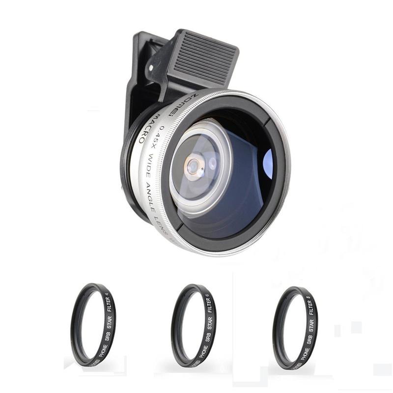 Prix pour Zomei 5 dans 1 Téléphone Lentille Kit 140 Degrés Grand Angle lentille + 10X Macro Lentille + Filtre Étoile avec 37mm Clip pour iPhone Samsung Smartphone