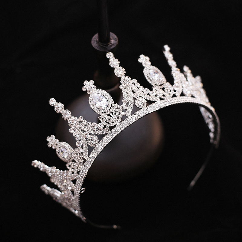 Elegant Sparkling Zircon Large Bridal Tiara Crown For Women High Quality Fashion Crystal Wedding Party Crowns peacock star bridal wedding party quality sparkling pageant beauty contest black crystal tall tiara ct1389