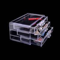 3 Drawers Storage Box Clear Plastic Cosmetic Storage Box Makeup Storage