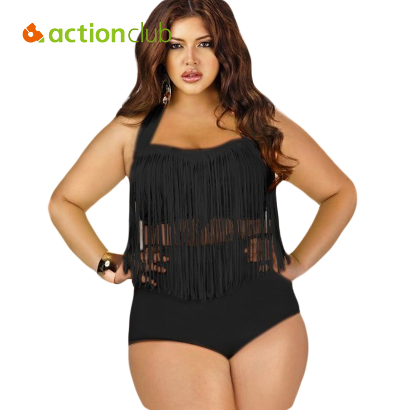 Actionclub Plus Size Swimwear Bikini Set Sexy High Waist Swimsuit Tassel Swimwear Women Bikini Push Up Biquinis trajes de bano купить