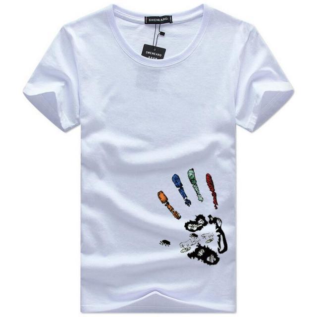 SWENEARO męskie koszulki Plus rozmiar 5XL Tee Shirt mężczyźni lato z krótkim rękawem drukuj zabawna koszulka męskie koszulki Camiseta Tshirt homme