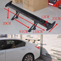 JK New Car Spoiler Universal Aluminum 135CM Sedan GT Rear Trunk Wing Spoilers Adjustable Deck Black Fit Most Car