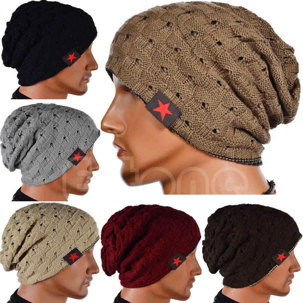 be3b43caf08 Winter Warm Men Star Skull Chunky Hat Women Knit Beanie Reversible Baggy Snow  Cap Male Oversize