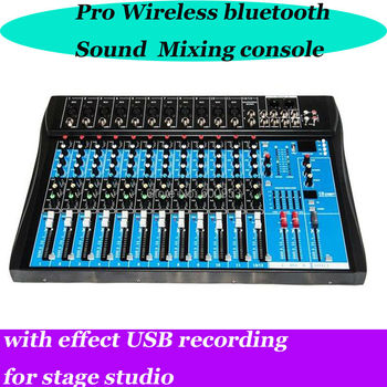 Pro 12 Channel Mixer DSP 48V Microphone wireless bluetooth USB Sound Mixing Console