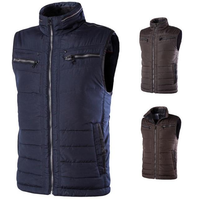 2017 New Winter Waistcoat Mens Plus Size Cotton Padded Sleeveless Jacket 4XL 5XL 6XL Casual Zipper Thick Warm Vest A1414