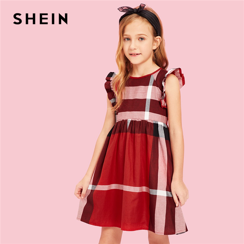 SHEIN Kiddie Red Striped Zipper Back Cute Girls Dress Kids Clothes 2019 Summer Ruffle Cap Sleeve A Line Flared Short Dresses new baby girls fall children clothes cute solid color dress with white lace ruffle dress girls boutique summer soft denim dress