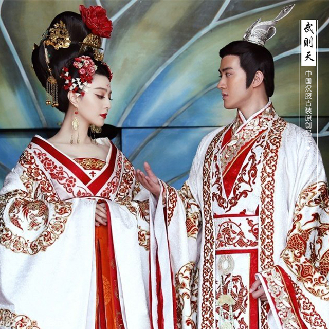 de190b3e5 Ancient Royal Chinese emperor empress High Quality Red and white prince  Princess Fairy Clothes Tang Hanfu Costume Train Dress