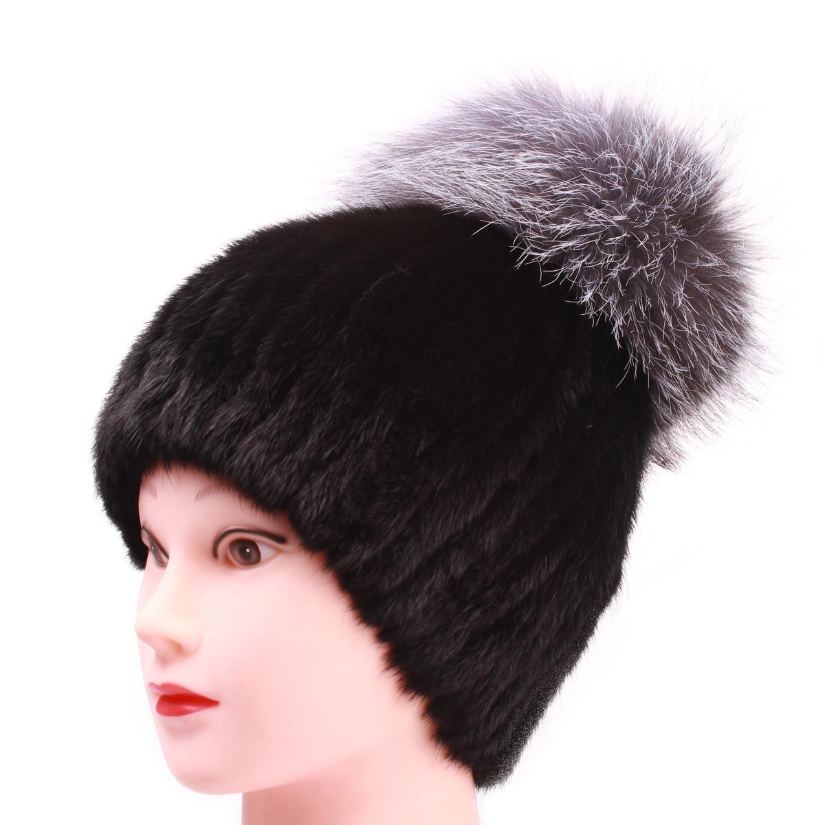 Chaud véritable vison fourrure chapeau femme casquette Nature tricot mode femmes hiver cagoule chapeaux filles chapeaux pour