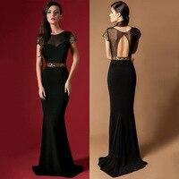 Elegant Long Evening Dress Formal Gowns Black Sheer Neck Sequins Evening Dresses Vestido De Festa Cap Sleeve Robe De Soiree