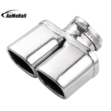 Y Pipe Dual Dual Curved Car Stainless Steel Silver Chrome Round Tail Muffler Tip Pipe Automobile