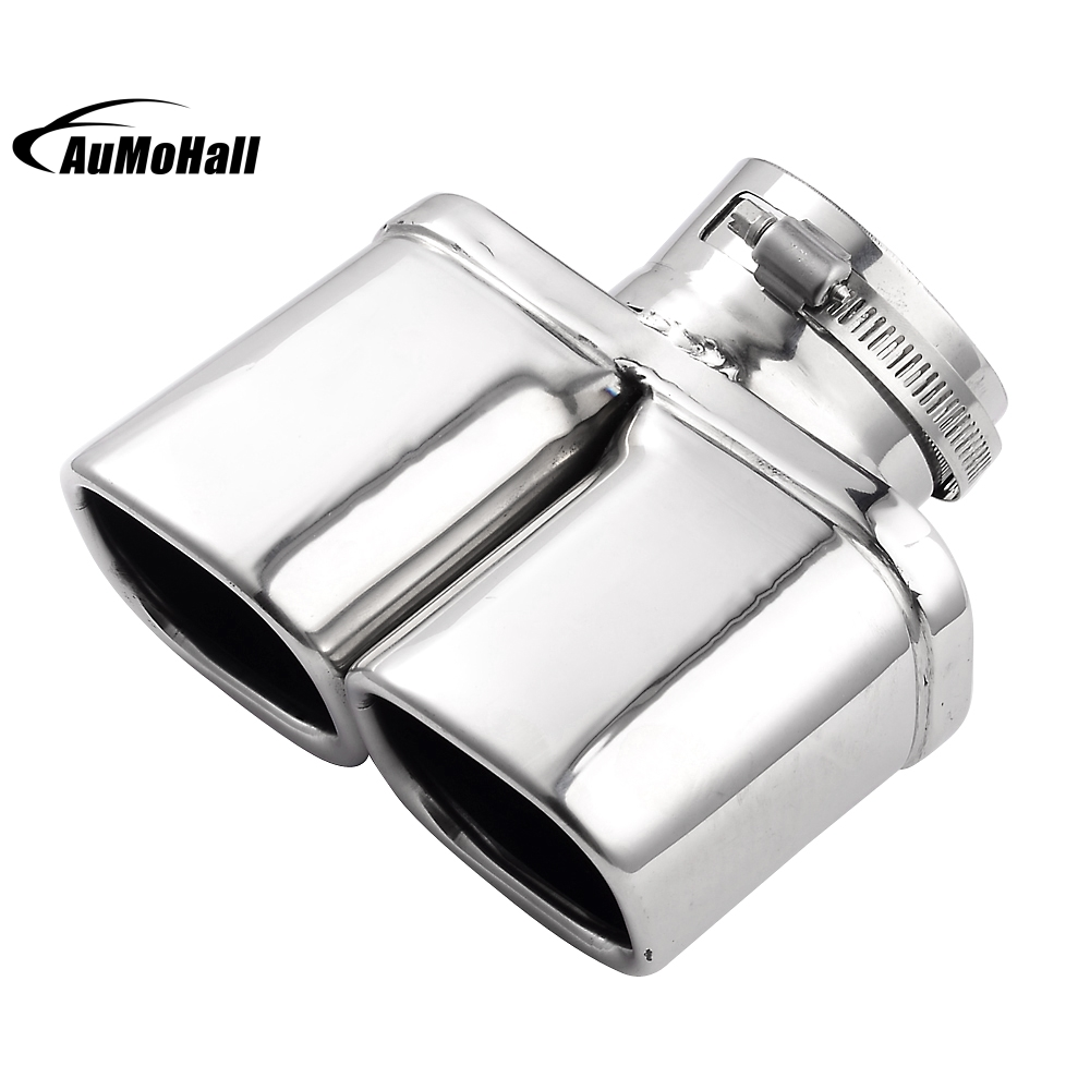 Y Pipe Dual Dual Curved Car Stainless Steel Silver Chrome Round Tail Muffler Tip Pipe font