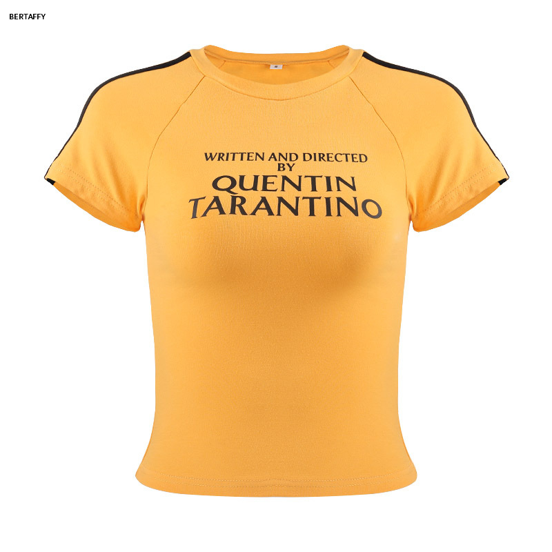 HTB1B8p7XODxK1RjSsphq6zHrpXaN - Quentin Tarantino Short T-shirt Yellow Sexy Crop Tops Tumblr Women Grunge Stripe Long Sleeve Cotton Knitted Tees Art Fashion