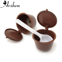 Arshen 2 Pcs/Set Refillable Coffee Capsule Dolce Gusto Plsatic Reusable 200 Times Compatible With Nescafe