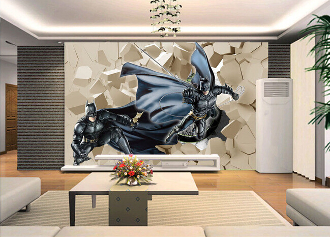 Custom papel DE parede infantil, batman to break the wall for boys and girls bedroom children room background wall wallpaper обои great wall 3d papel de parede infantil qy0003