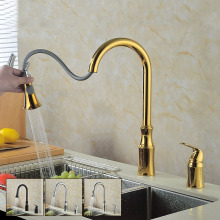 Pull Out Spring Kitchen Faucet gold /brushed nickel kitchen Vessel Sink Mixer Tap Deck Mounted Swivel Spout Mixer Tap KF585