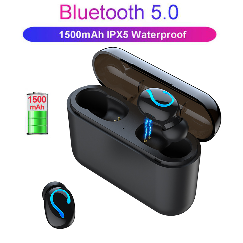 NAIKU TWS Wireless Bluetooth Earphones 5.0 Stereo Earbud Headset Wireless Headphone with charging box 1500 mAh power bank