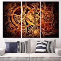 Heißer Verkauf 3 Platten Leinwandkunst Zahnrad Clockwork Feine Uhr Home Decor Unframed Wandmalerei Drucke Bilder Für Wohnzimmer