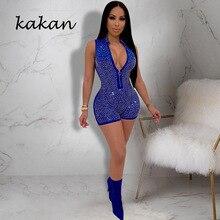 Kakan  new irregular hot drilling jumpsuit zipper V-neck jumpsuit shorts sexy nightclub women's tight jumpsuit collared overlap v neck jumpsuit