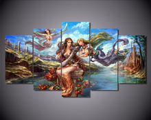 5Piece Wall Painting Home Decor Anime Poster Angel Girl Canvas Art Picture And Printed Wall Art Cuadros Decoracion Frameless
