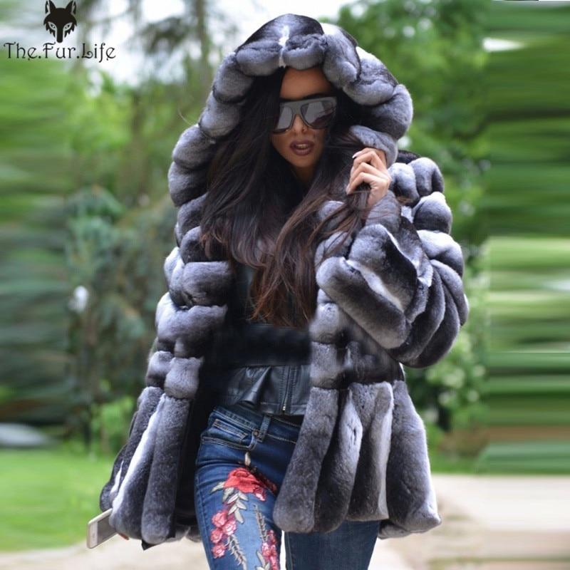 Naturel D'hiver Couleur Fourrure Design Chinchilla hood stand 100 Cm Femmes De Collar Lapin Qualité Véritable Design Collar Veste 70 Manteau Spéciale Supérieure Réel Offre Rex t6wZFqF