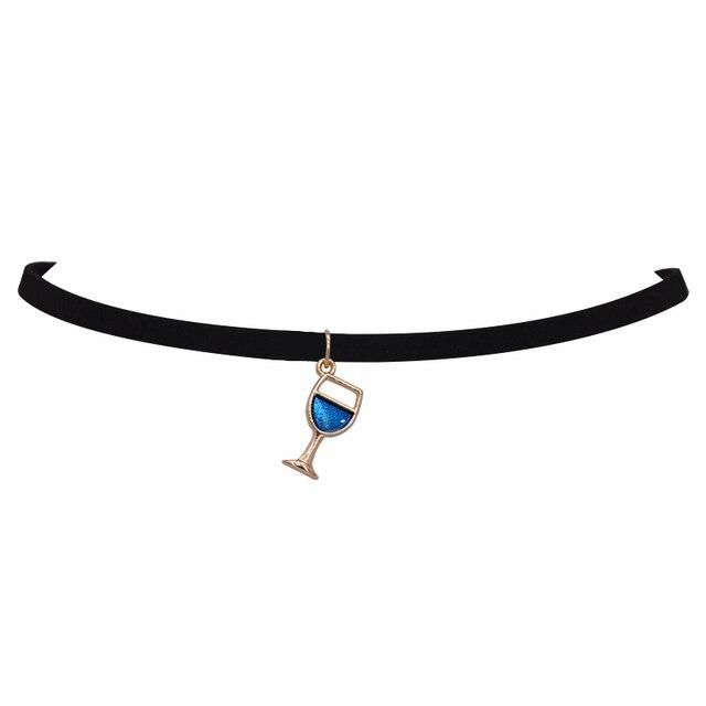 brixini.com - Wineglass Pendants Black Velvet Leather Chokers