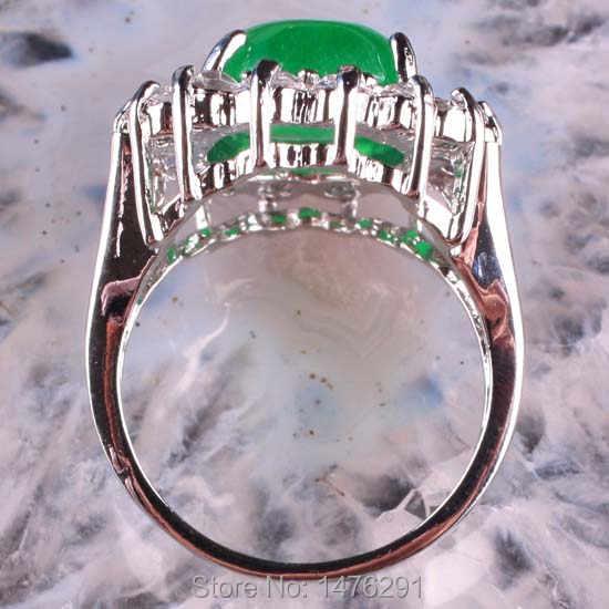 ขนาด8เลียนแบบสีเขียวJadesรีคริสตัลลูกปัดแหวนนิ้ว