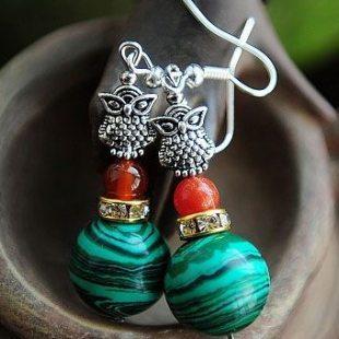 shop Fashion Bohemian Vintage Ethnic Tibetan silver Owl Natural Malachite Beads Dangle Earrings For Women Gift Jewelry Wholesale