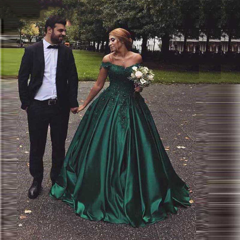 Elegant Green Satin Evening Dresses Ball Gown Lace Sweetheart Evening Gowns 2019 Long Robe De Soiree