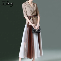 Ellacey 2019 Spring Women's Suit With A Skirt Blazer and Long Pleated Skirt Suit Elegant 2 Piece Set Office Lady Two Piece Set