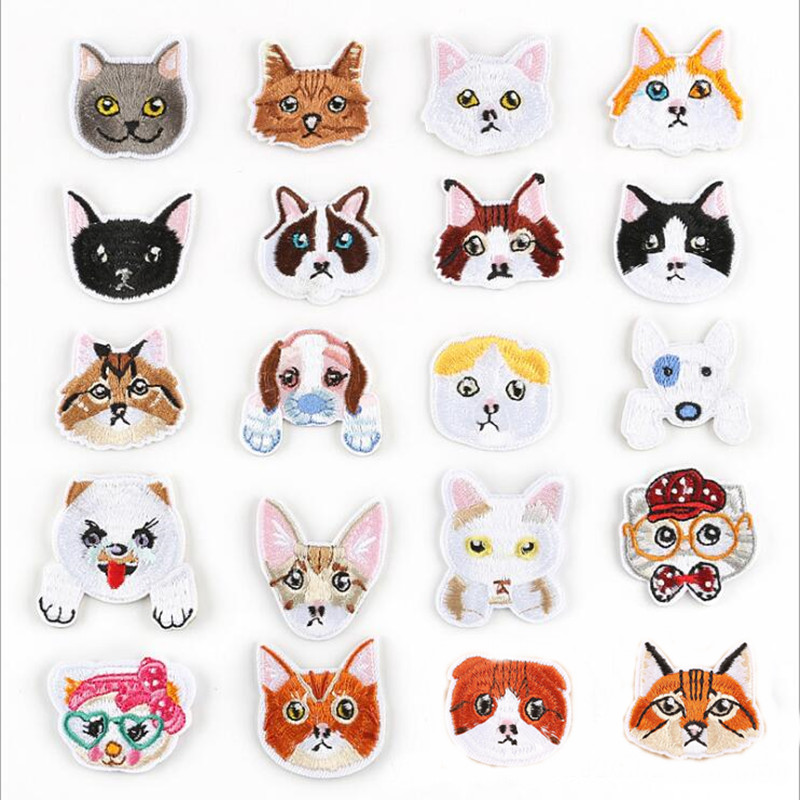 Many Small Dog And Cat Badge Repair Patch Embroidered Iron On Patches For Clothing Close Shoes Bags Badges Embroidery DIY