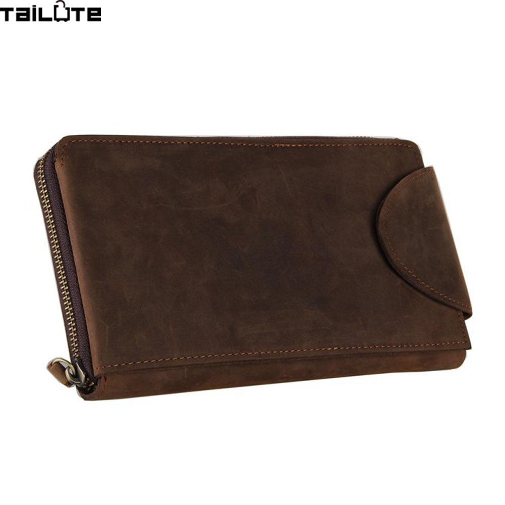 ФОТО TAILUTE Vintage Cow Leather Men's Wallet visiting cards Phone Purse partmone Portmann Magic wallet Genuine Leather Clutch Men