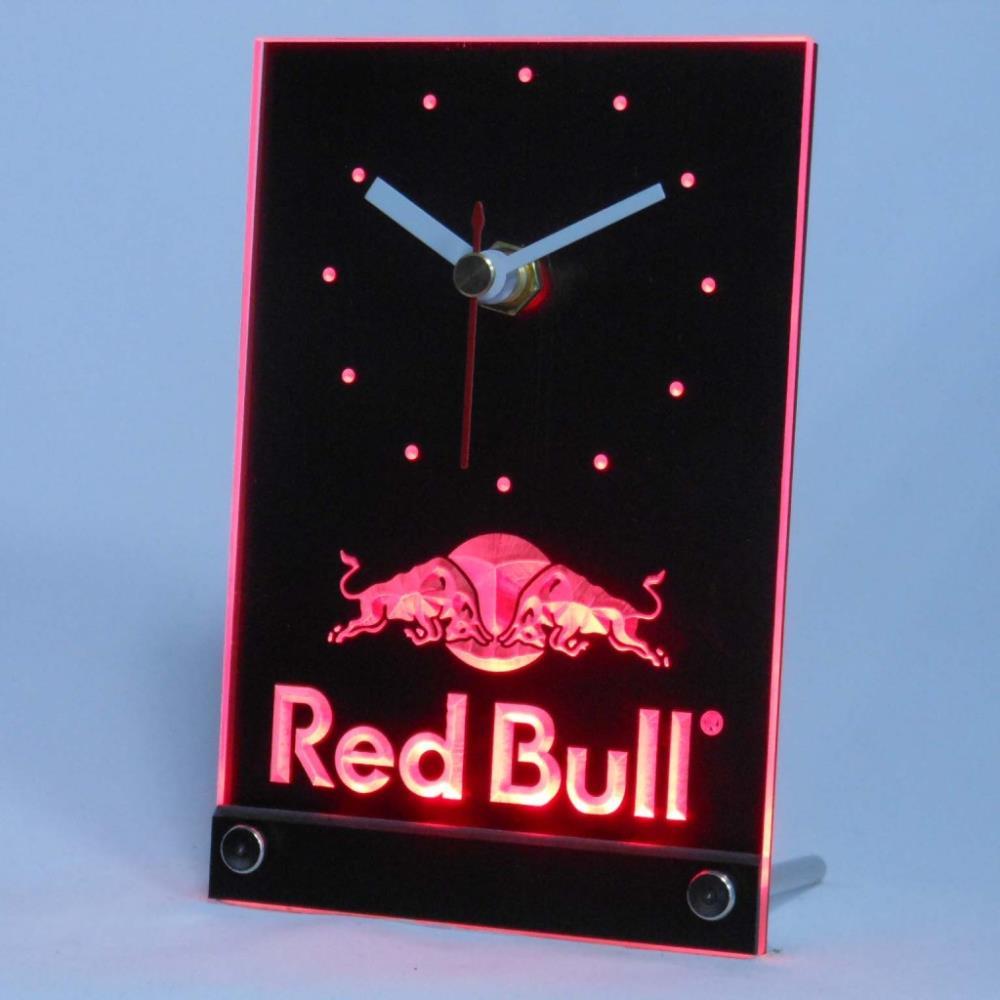 Tnc0469 Bull Engergy Drink Table Desk 3D LED Clock