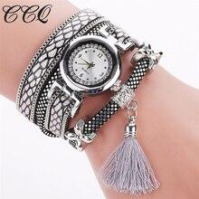 CCQ Luxurious Authentic Design Tassel Pendant Bracelet Wristwatch Girls Style Leather-based Gown Watch Classic Quartz Watch Relogio C75