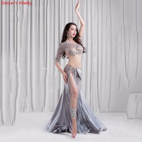 2018 New 2 piece Luxury Belly Dance dress Costume Women Stage Performance Show Wear Bra Split Skirt Dance belly dance set