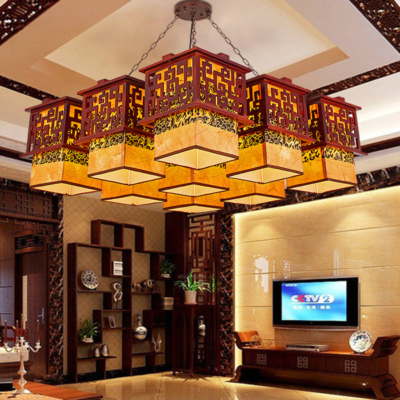 Chinese style Wooden Pendant Lights solid wood living room dining room Pendant lamp creative bedroom study hallway ZS37 LU1017